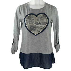 Style & Co Heart Applique Womens Top New